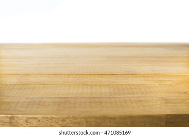 Wooden table whit isolated background.