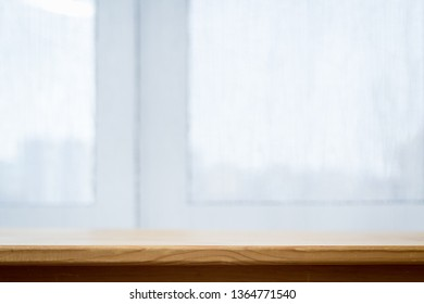 Wooden table and window, background