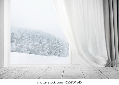 Wooden table and window on background