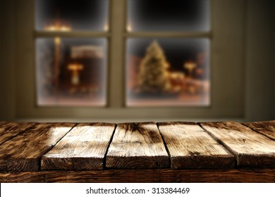 wooden table window and shadows and light