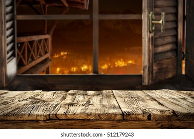 wooden table and window of xmas time