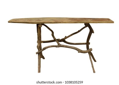 Wooden table (with clipping path) isolated on white background