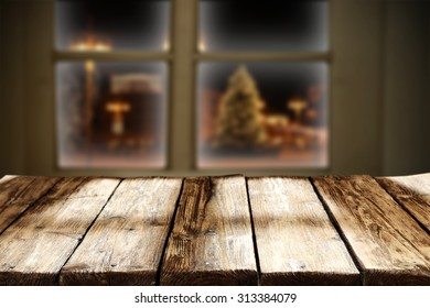 wooden table and xmas time