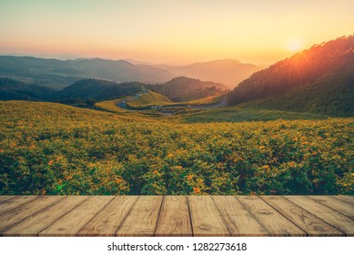 Wooden table for your product and Sunset background montage, Wooden table background nature montage