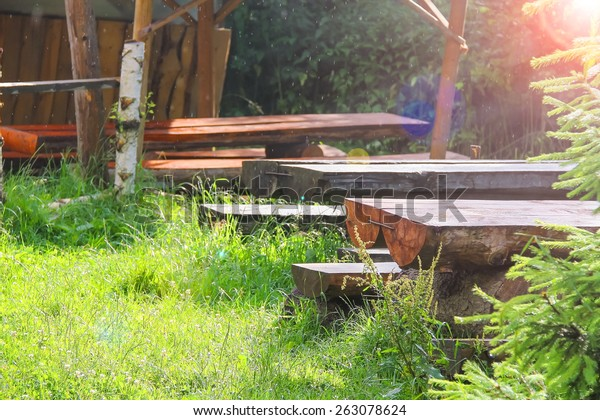Miraculous Wooden Tables Benches Gazebo Park Stock Photo Edit Now Ibusinesslaw Wood Chair Design Ideas Ibusinesslaworg