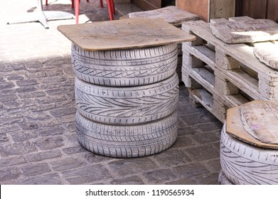 Wooden tables made with tires (Marche, Italy, Europe)