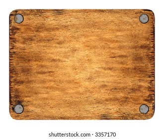 The wooden tablet nailed up on corners. The image is isolated and placed on a white background. The picture is convenient for using in a composition with the added layers.