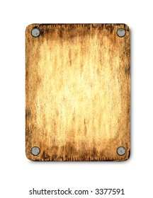 The wooden tablet which was nailed  up. The light area in the middle allows to add the text or the image on a board.