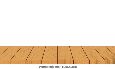 wooden tabletop on white background : can be used for montage - real natural surface wooden design
