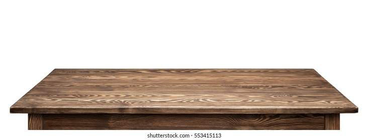 Wooden tabletop on white background. Empty rustic wood table.