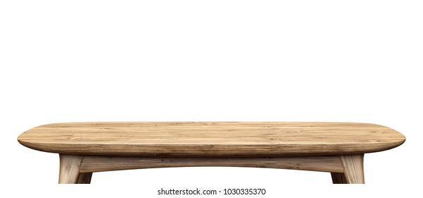 Wooden tabletop. Table isolated on white background.