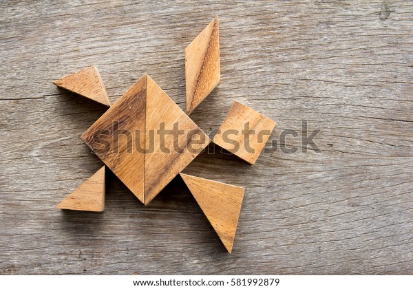 Wooden tangram puzzle in turtle shape background