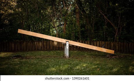 Wooden teeter in the park