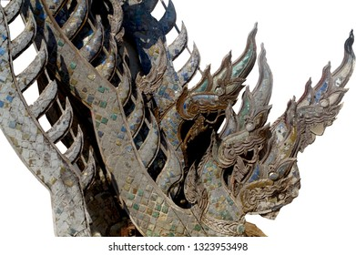 wooden temple dragons and copy space isolated