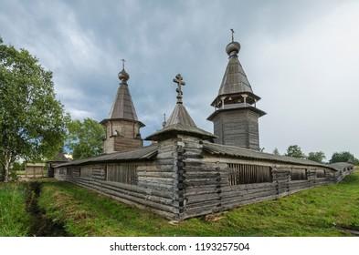 Wooden temple. Pokhozersky churchyard in the village of Filippovskaya. Russia, Arkhangelsk region, Plesetsk district