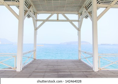 The wooden terrace beside the beach with clearsea