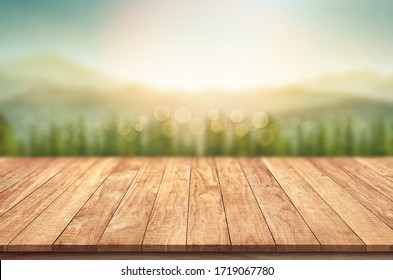 Wooden terrace with blurred mountain view background montage photo for advertising display concept