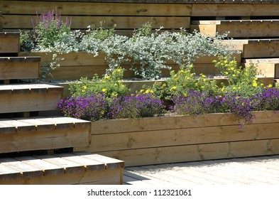 wooden terrace with fl;owers