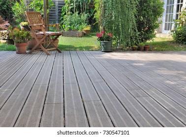 wooden terrace in a garden