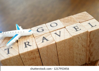 Wooden Text Block of Go Travel