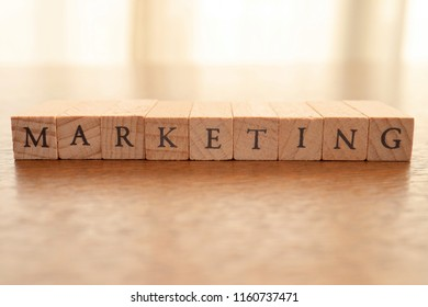 Wooden Text Block of Marketing