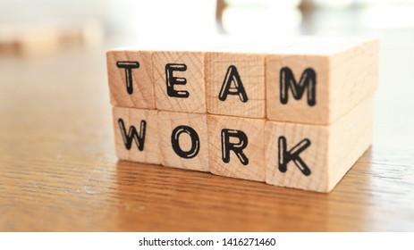 Wooden Text Block of Team work