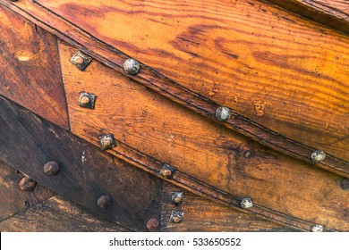 Wooden texture of a Viking ship in the Viking Ship Museum of Roskilde, Denmark