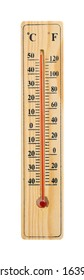 Wooden Thermometer with maximum temperature isolated on white with clipping path. Global warming concept