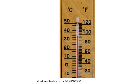 The wooden thermometer tell the warm degree in Thailand, Asia with white background