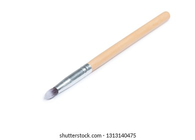 Wooden thin makeup brush isolated on white