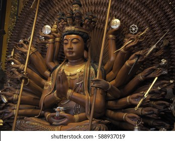 Wooden Thousand hands Guanyin Statue in Thailand