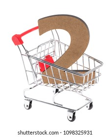 "the wooden three-dimensional volumetric digit ""2"" in a mini shopping trolley cart on white background"