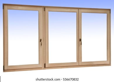 Wooden three-wing window with mechanism