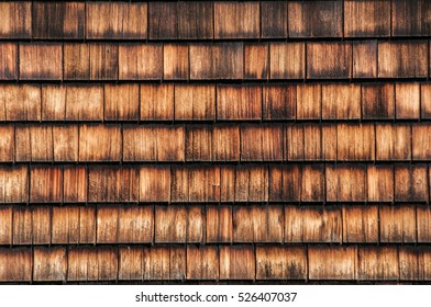 Wooden tiled house roof