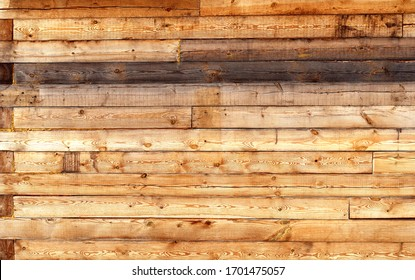 Wooden timber wall. Old wood texture. Brown and yellow natural simple wooden texture material background
