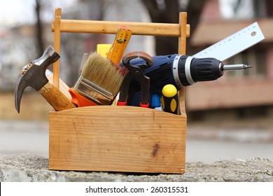 wooden tool box at work close up