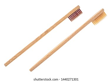 Wooden toothbrushes on a white background. Bamboo toothbrush.