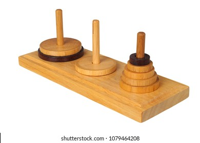 Wooden towers of Hanoi isolated on white background