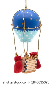 Wooden toy blue balloon with basket