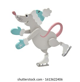 Wooden toy gray rat on skates