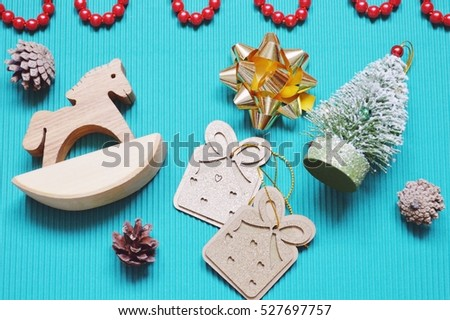 Wooden Toy Horse Green Artificial Christmas Stock Photo Edit Now