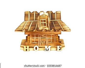 Wooden toy house with word home isolated on white background