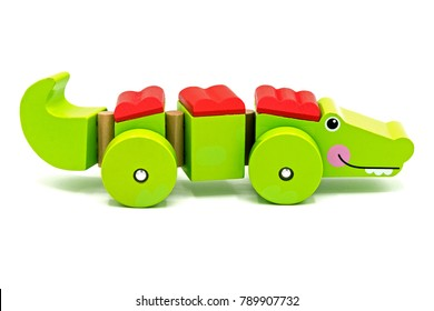 Wooden toy isolated on white background