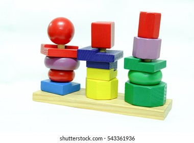 wooden toy on white background.