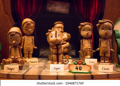 A wooden toy Pinocchio handmade.