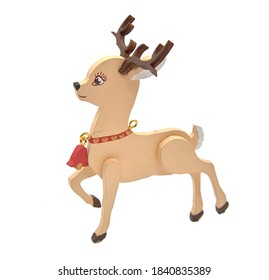 Wooden toy reindeer with a bell