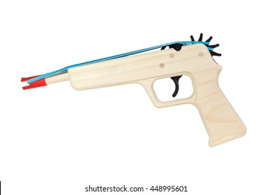 Wooden Toy Rubber Band Gun Isolated over White