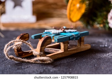 wooden toy sleigh, Christmas card