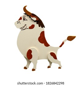 Wooden toy standing Jolly bull