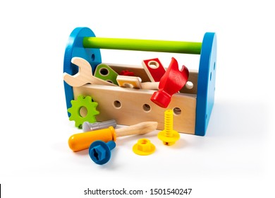 wooden toy tool box isolated on white background